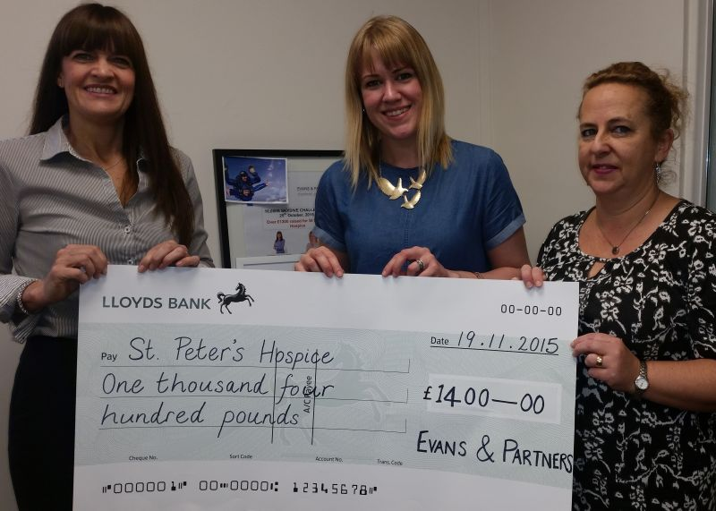 Skydiving accountants raise £1400 for St Peter's Hospice in Bristol
